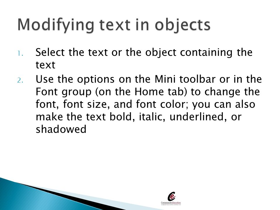 Modifying text in objects