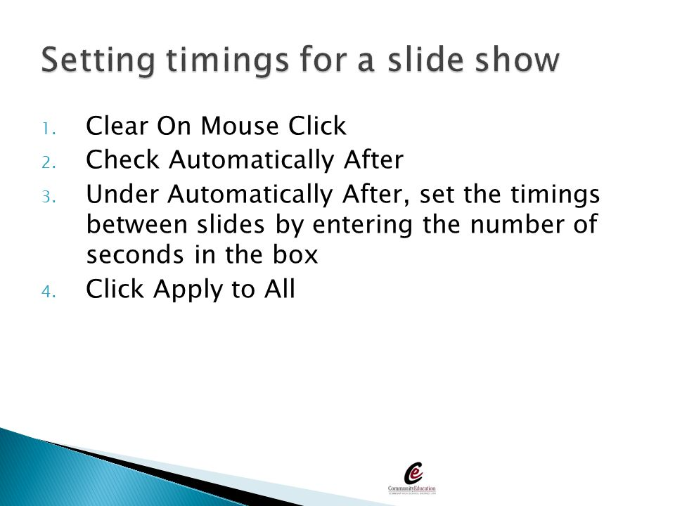 Setting timings for a slide show