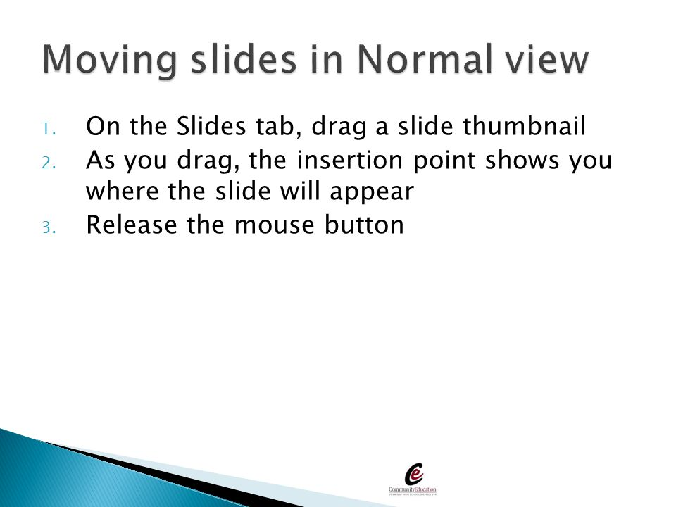 Moving slides in Normal view