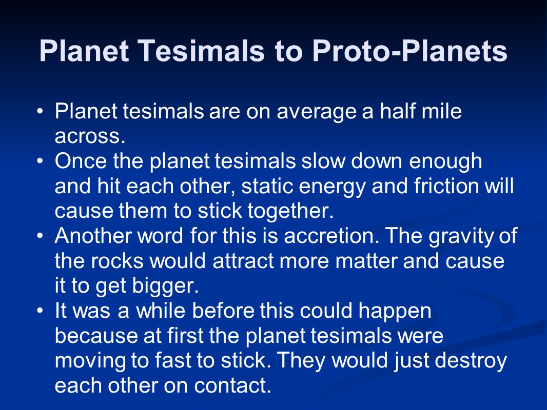 Planet Tesimals to Proto-Planets