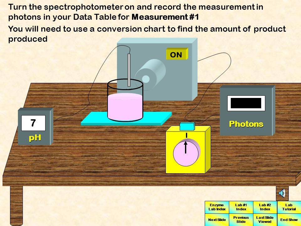 Turn the spectrophotometer on and record the measurement in photons in your Data Table for Measurement #1
