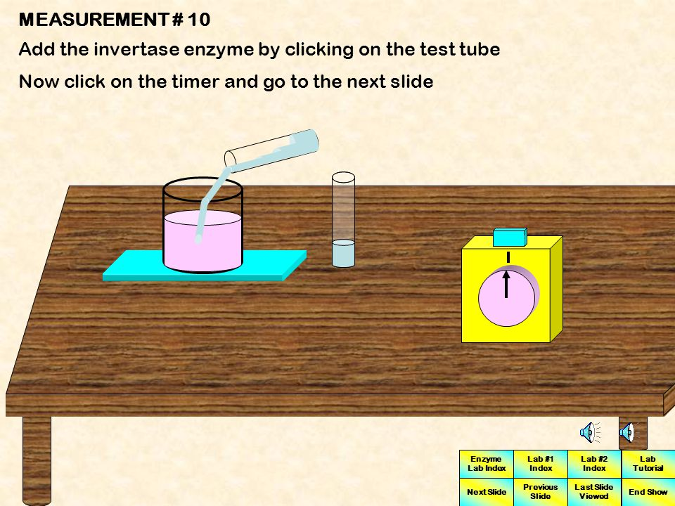 MEASUREMENT # 10 Add the invertase enzyme by clicking on the test tube.
