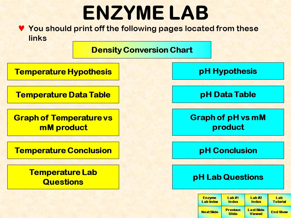 ENZYME LAB You should print off the following pages located from these links. Density Conversion Chart.