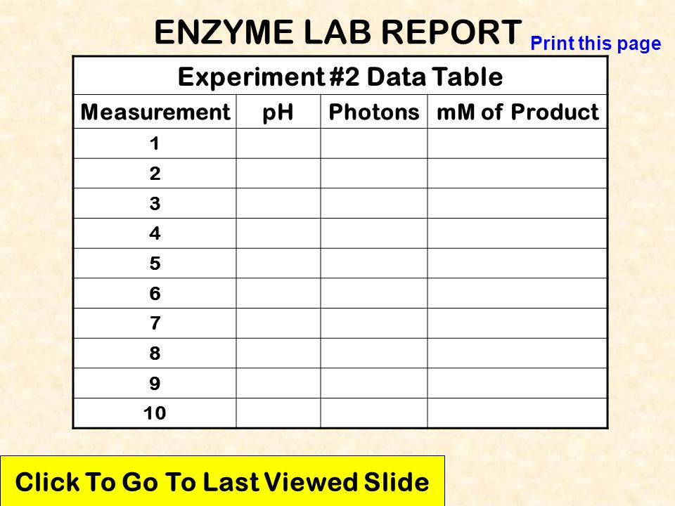 Experiment #2 Data Table Click To Go To Last Viewed Slide