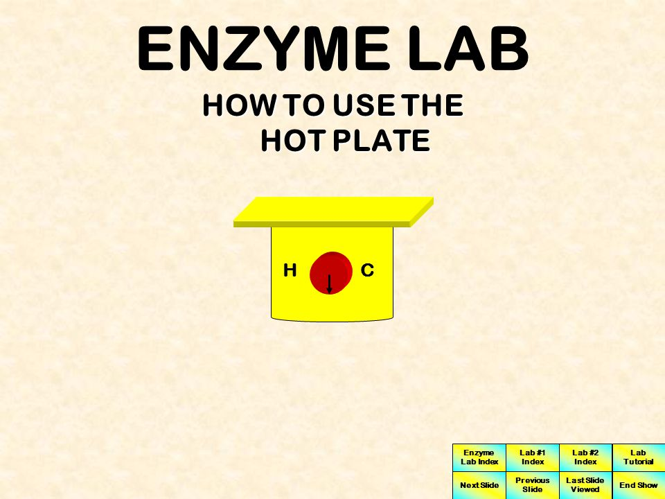 ENZYME LAB HOW TO USE THE HOT PLATE H C