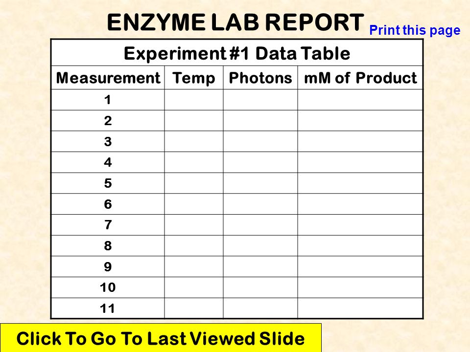 Experiment #1 Data Table Click To Go To Last Viewed Slide