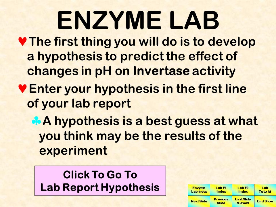 Click To Go To Lab Report Hypothesis
