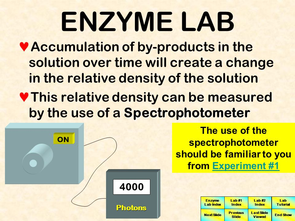 ENZYME LAB Accumulation of by-products in the solution over time will create a change in the relative density of the solution.