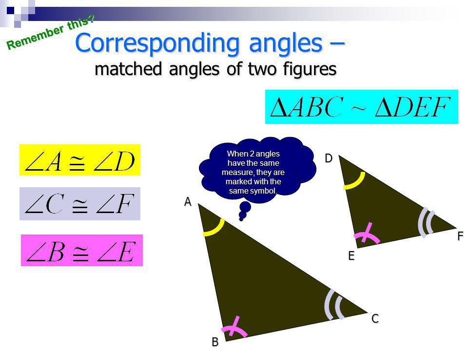 Corresponding angles –