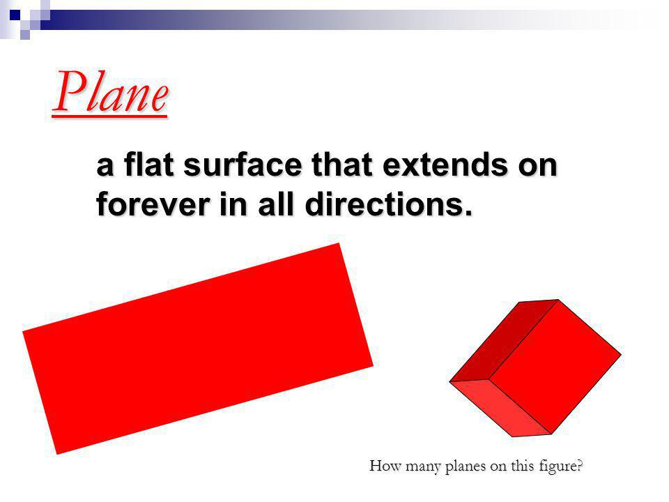 Plane a flat surface that extends on forever in all directions.