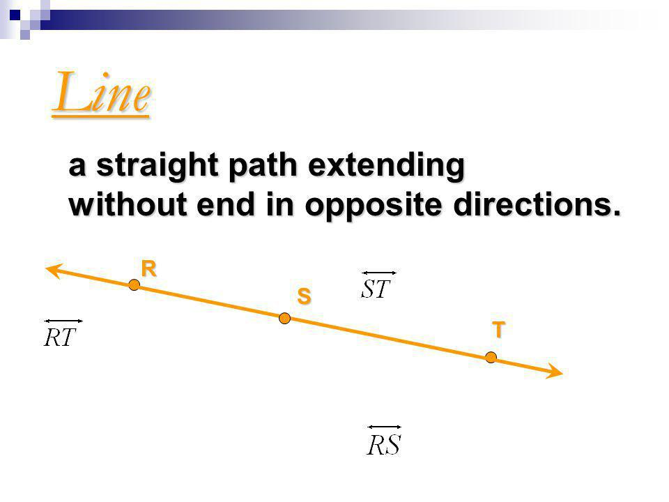 Line a straight path extending without end in opposite directions. R S