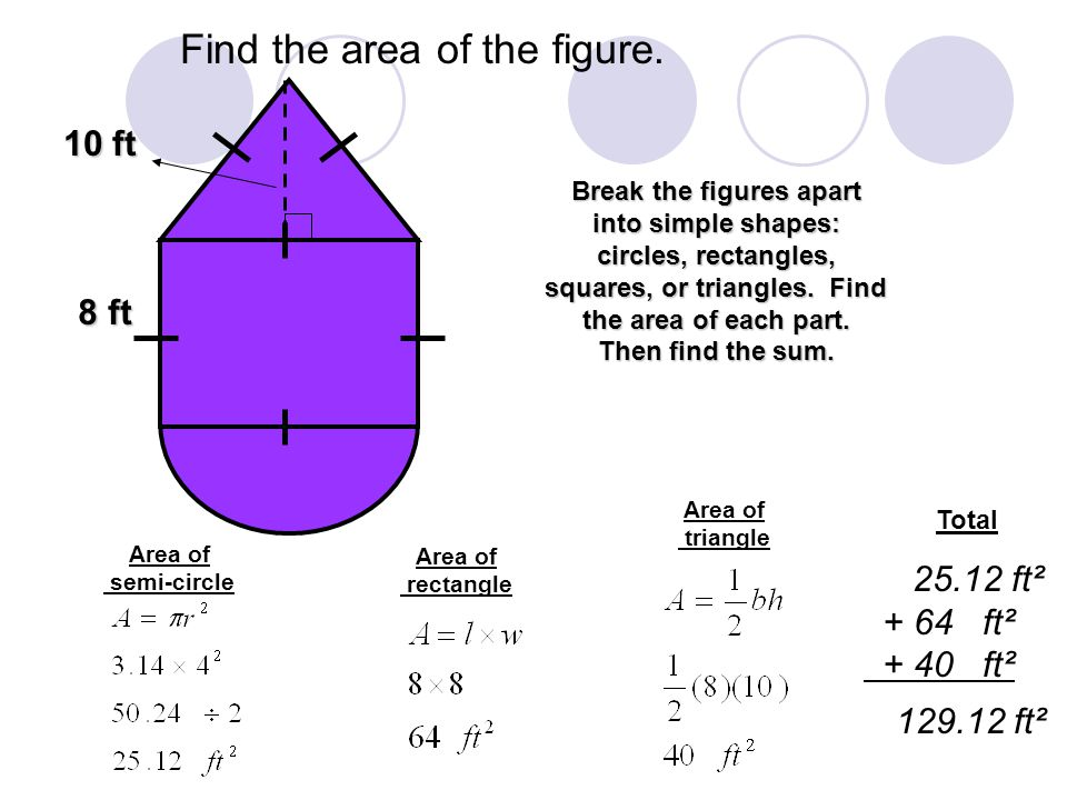 Find the area of the figure.