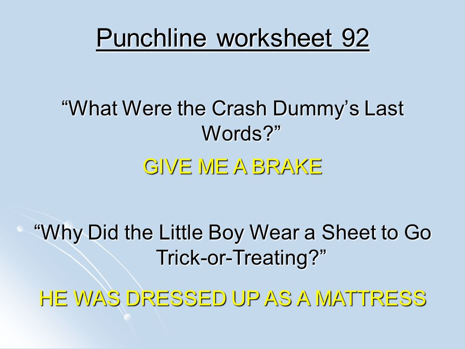 Punchline worksheet 92 What Were the Crash Dummy's Last Words