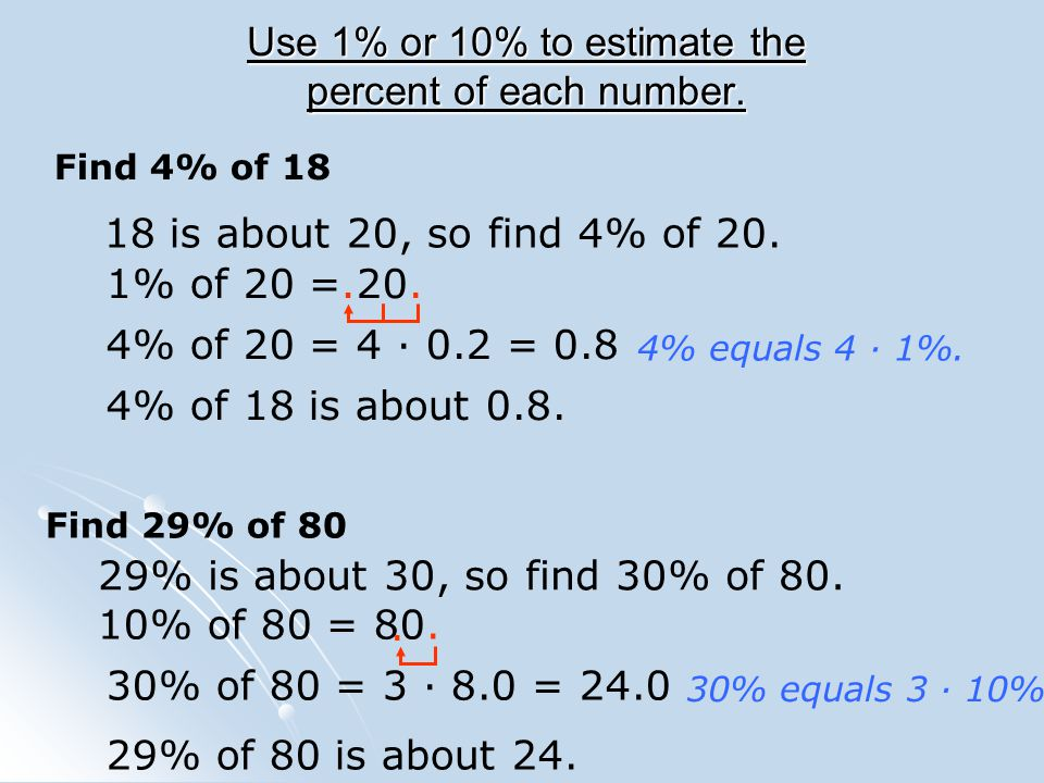 Use 1% or 10% to estimate the percent of each number.