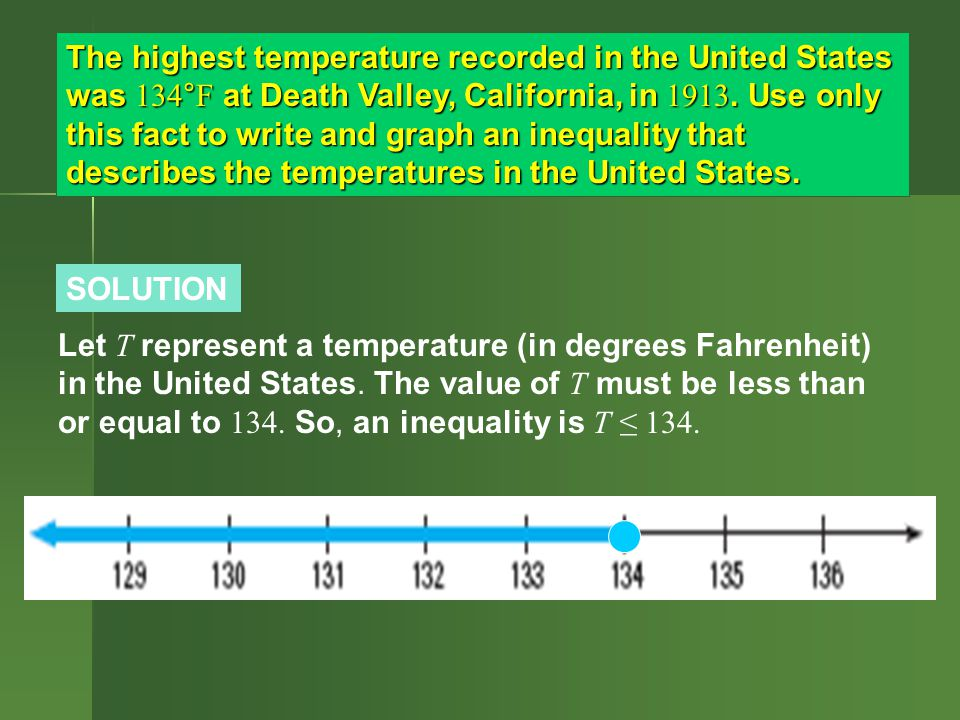 The highest temperature recorded in the United States was 134°F at Death Valley, California, in Use only this fact to write and graph an inequality that describes the temperatures in the United States.