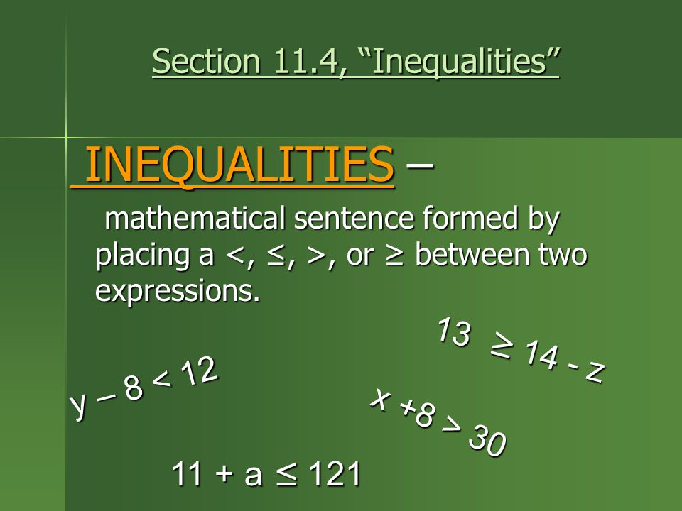 Section 11.4, Inequalities