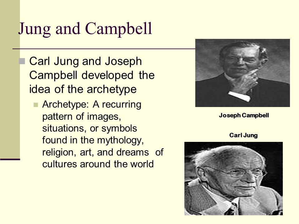 Jung and CampbellCarl Jung and Joseph Campbell developed the idea of the archetype.