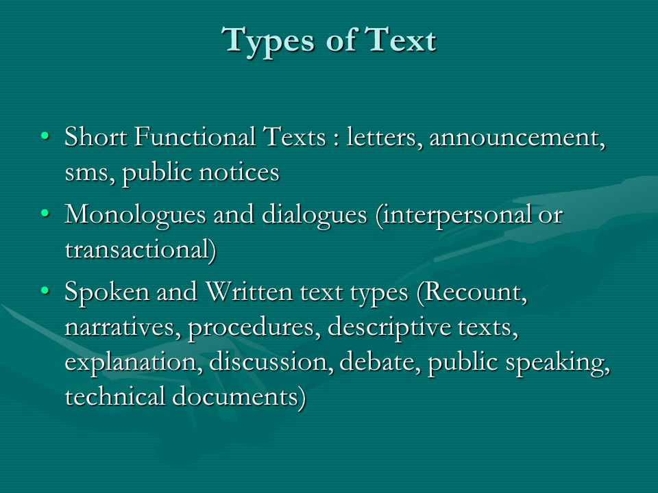 Types of Text Short Functional Texts : letters, announcement, sms, public notices. Monologues and dialogues (interpersonal or transactional)