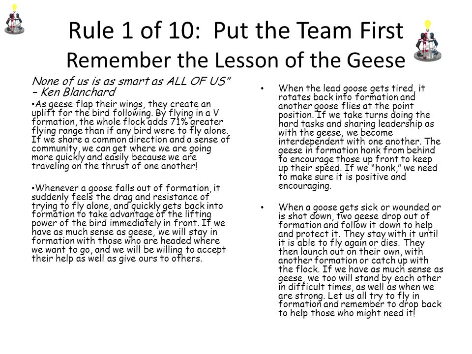 Rule 1 of 10: Put the Team First Remember the Lesson of the Geese