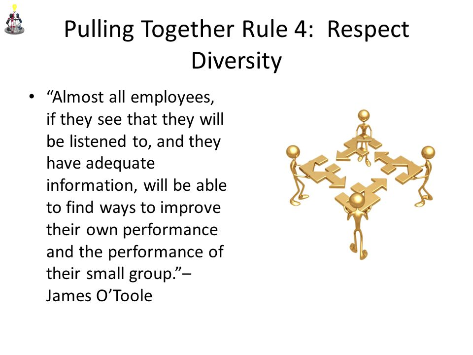 Pulling Together Rule 4: Respect Diversity