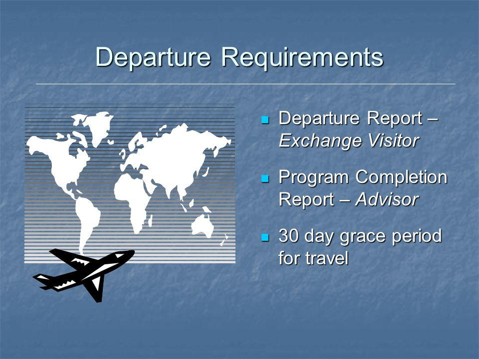 Departure Requirements