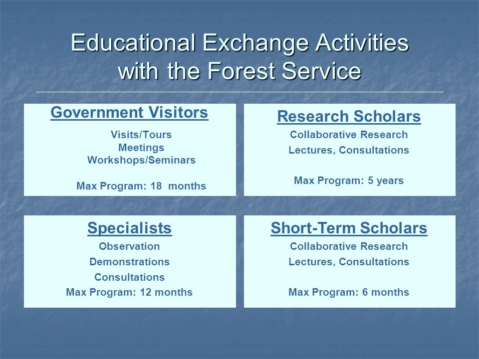 Educational Exchange Activities with the Forest Service