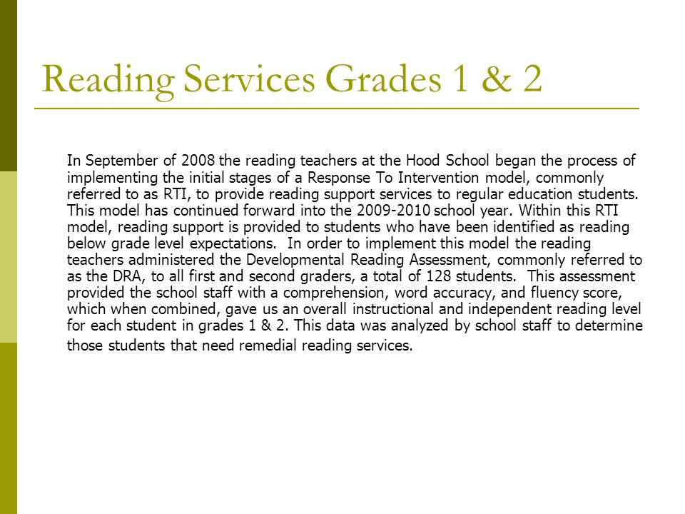 Reading Services Grades 1 & 2