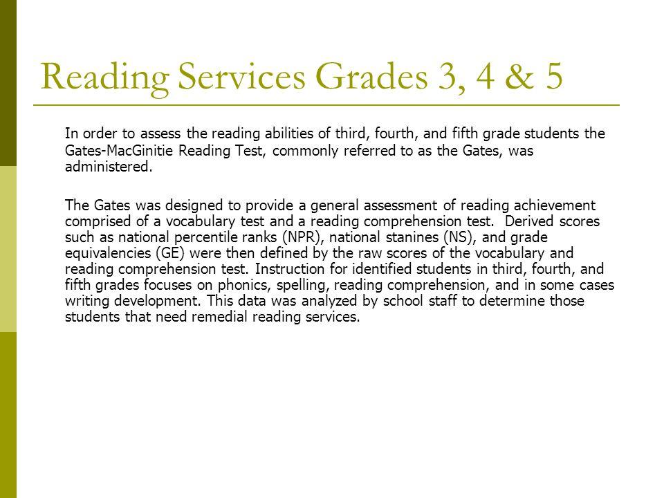 Reading Services Grades 3, 4 & 5