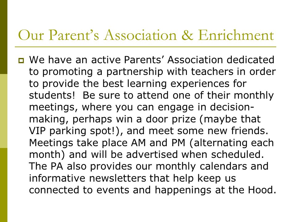 Our Parent's Association & Enrichment