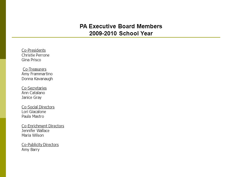 PA Executive Board Members