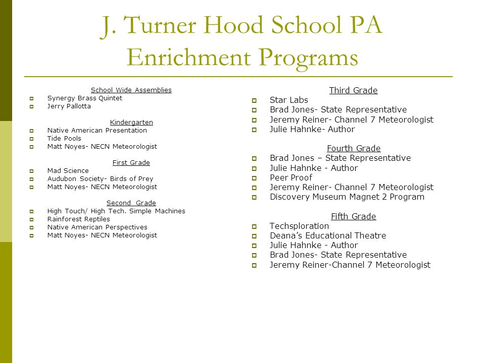 J. Turner Hood School PA Enrichment Programs