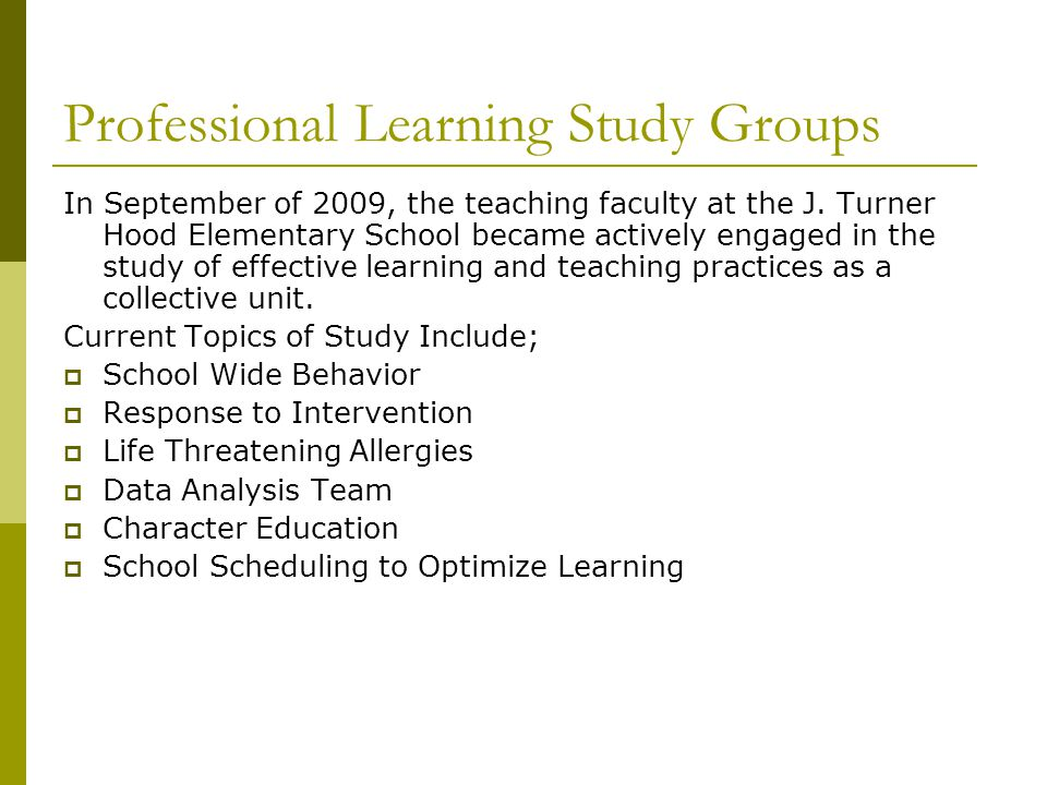 Professional Learning Study Groups