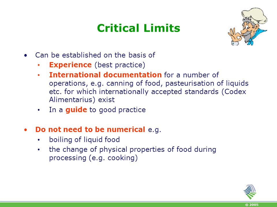 Critical Limits Can be established on the basis of