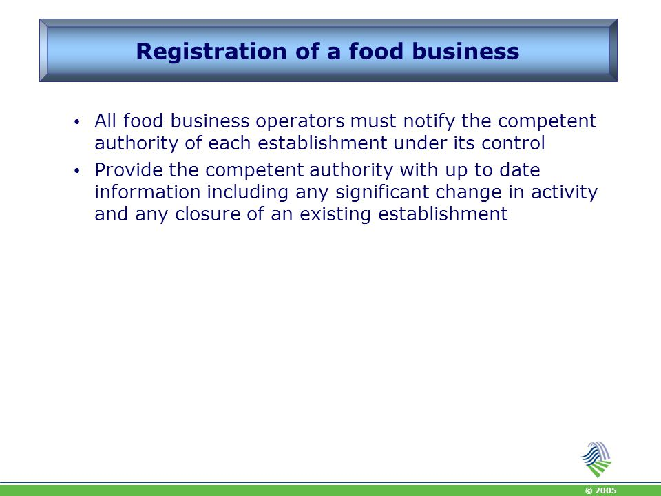 Registration of a food business