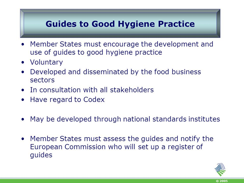 Guides to Good Hygiene Practice