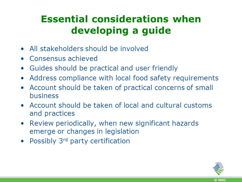 Essential considerations when developing a guide