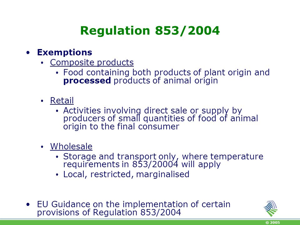 Regulation 853/2004 Exemptions Composite products