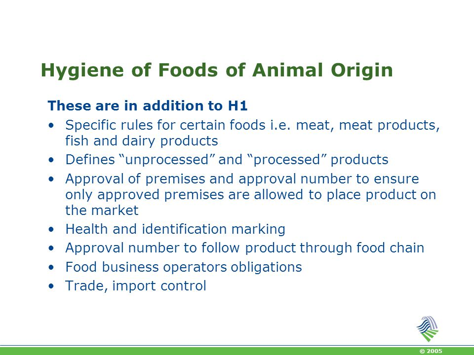 Hygiene of Foods of Animal Origin
