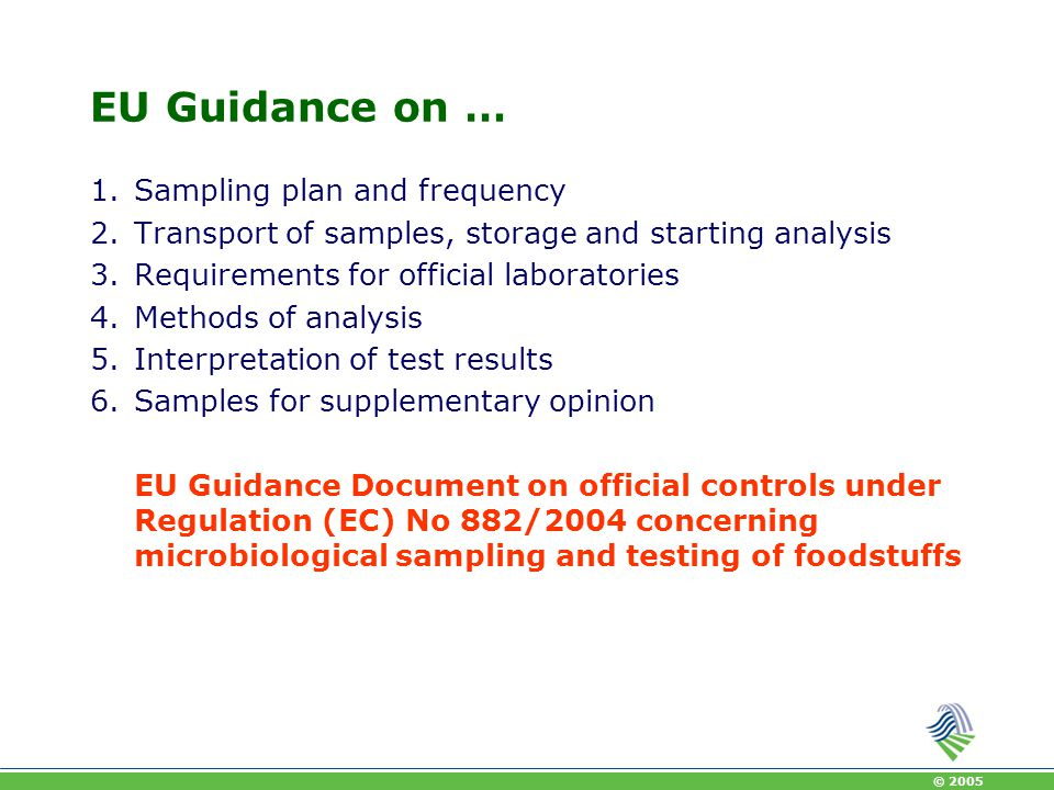 EU Guidance on … Sampling plan and frequency