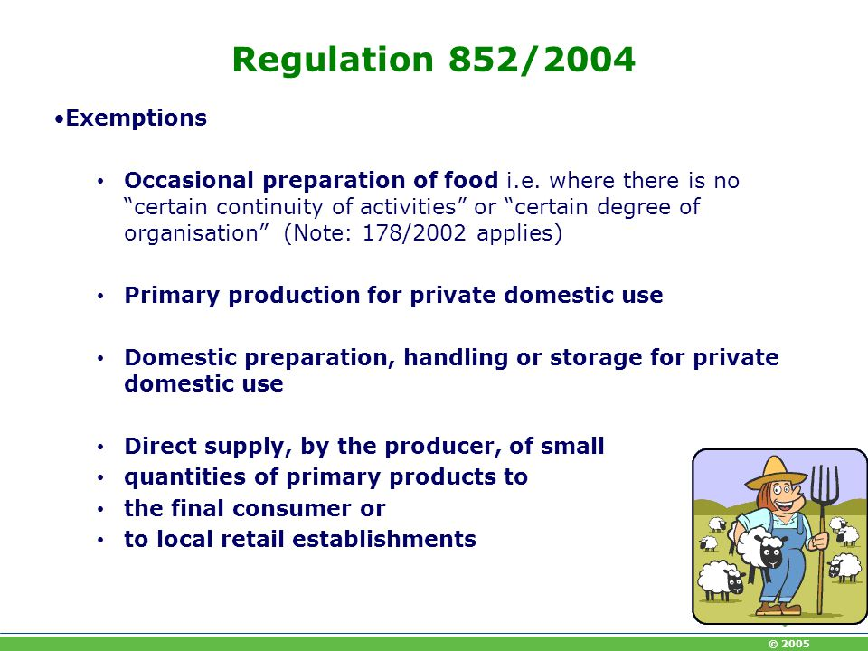 Regulation 852/2004 Exemptions