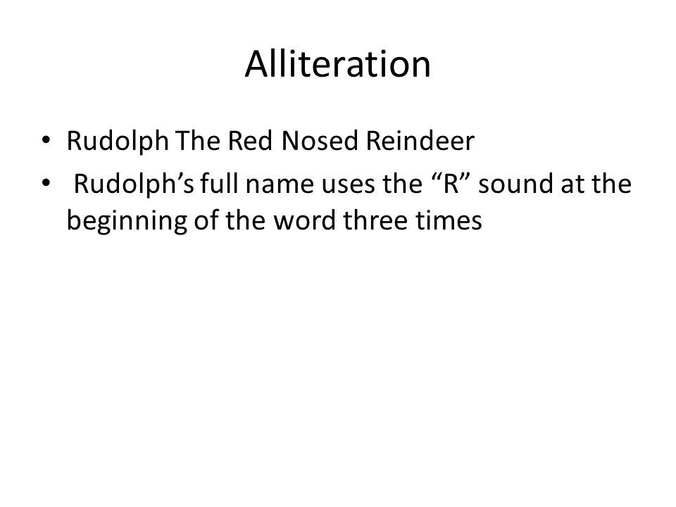 Alliteration Rudolph The Red Nosed Reindeer
