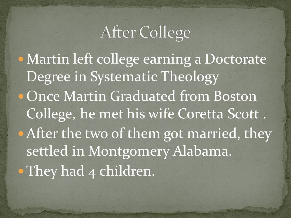 After College Martin left college earning a Doctorate Degree in Systematic Theology.