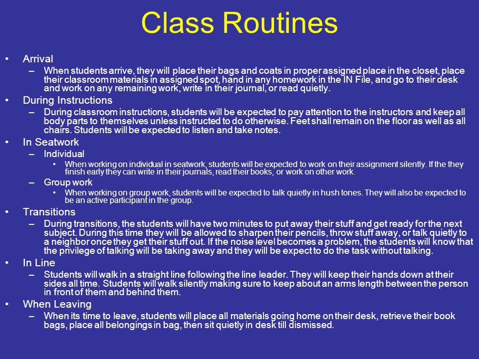 Class Routines Arrival During Instructions In Seatwork Transitions