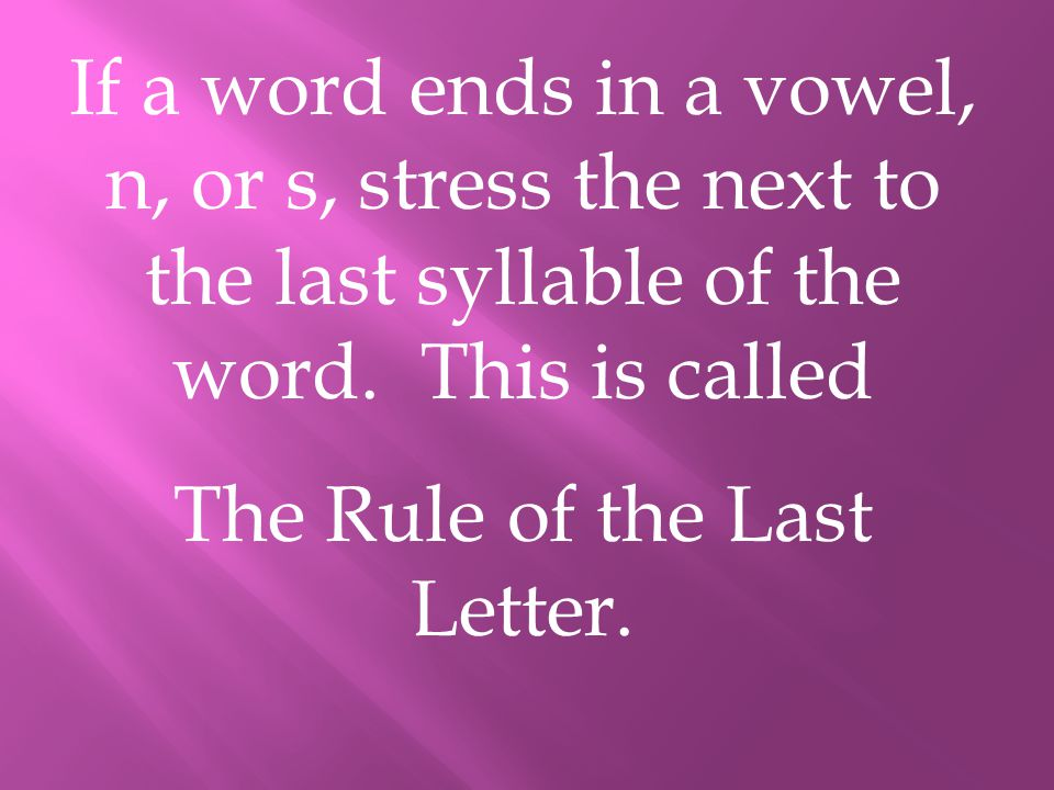 The Rule of the Last Letter.