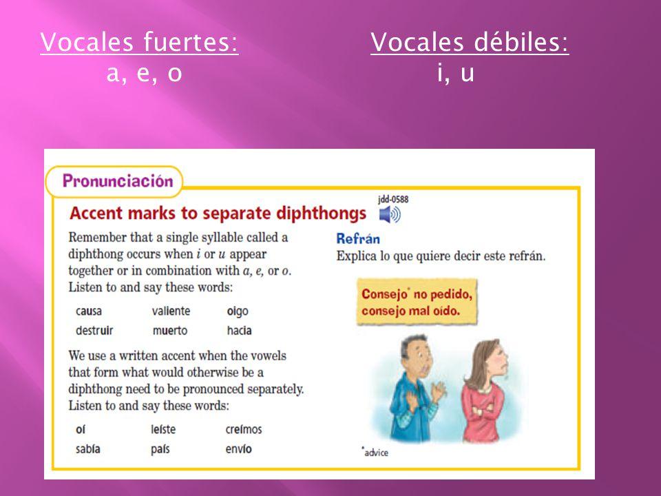 Vocales fuertes: Vocales débiles: