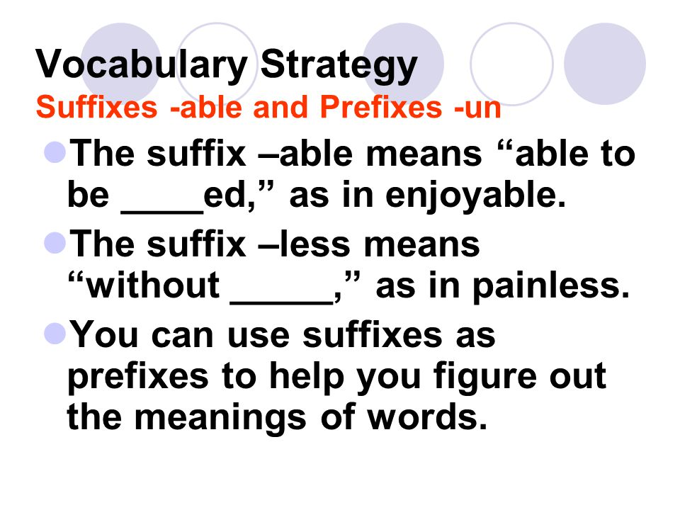 Vocabulary Strategy Suffixes -able and Prefixes -un
