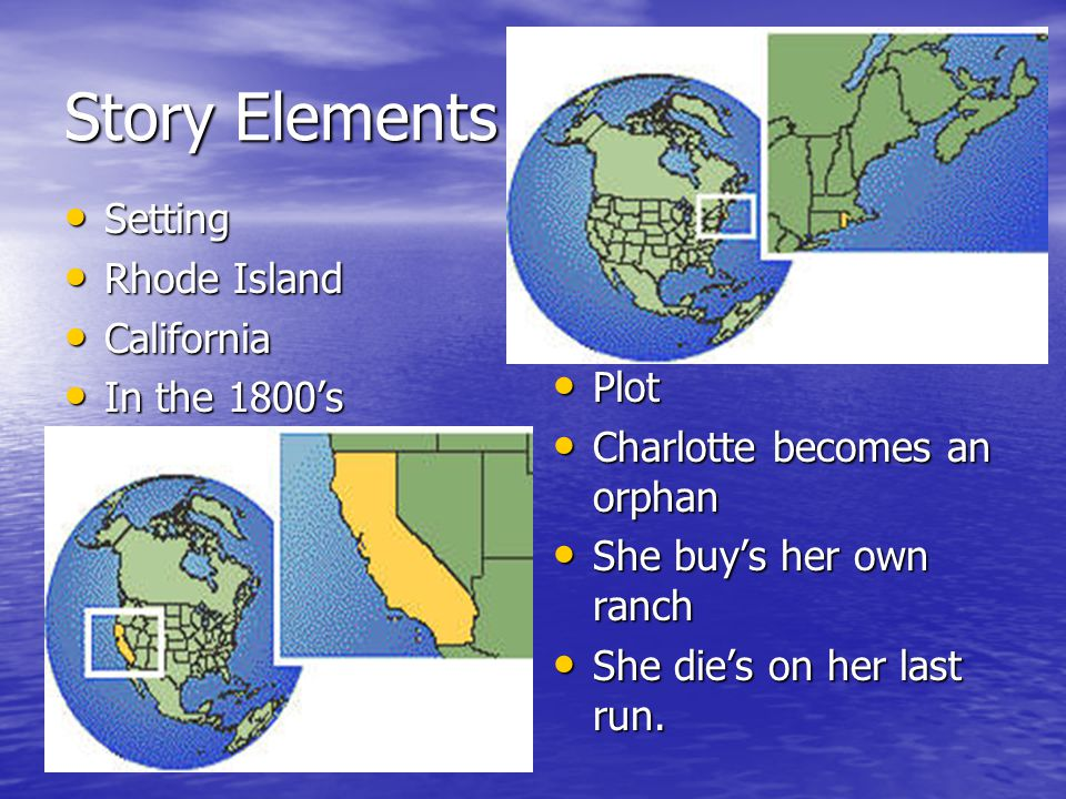 Story Elements Setting Rhode Island California In the 1800's Plot