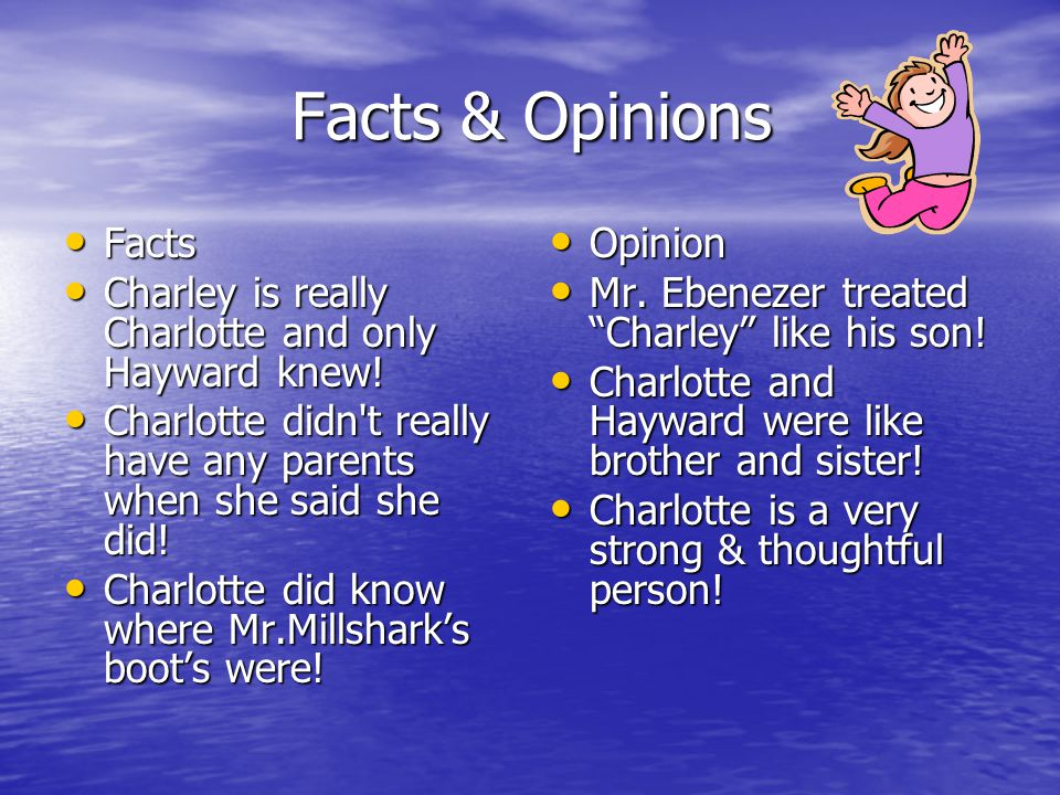 Facts & Opinions Facts. Charley is really Charlotte and only Hayward knew! Charlotte didn t really have any parents when she said she did!