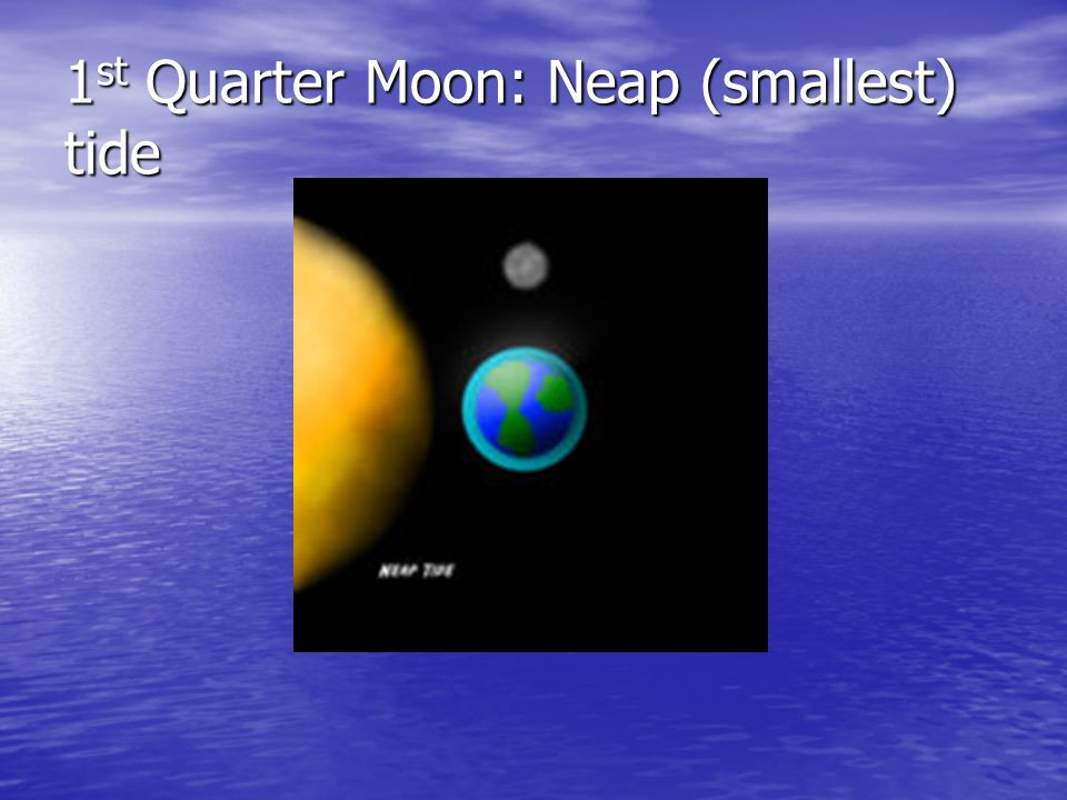 1st Quarter Moon: Neap (smallest) tide