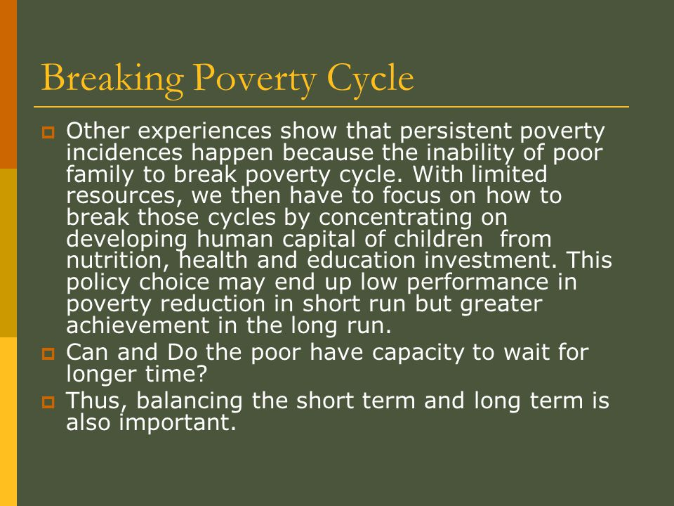 Breaking Poverty Cycle